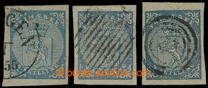 199856 - 1855 Mi.1, Znak 4Sk, sestava 3ks - světle modrá, modrá, tmav