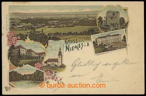 199910 - 1898 MIMOŇ (Niemes), 6-okénková lito pohlednice, mj. zámek,