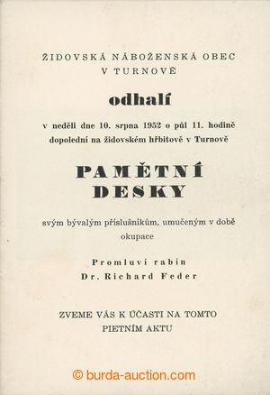 199915 - 1952 JUDAIKA / čb brožura k pietnímu aktu odhalení pamětní d