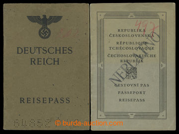 199990 - 1923, 1942 sestava 2 pasů, ČSR cestovní pas vystavený v r. 1