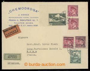 199995 - 1939 firemní Let+Ex-dopis adresovaný do Itálie se smíšenou f