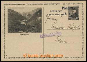 199996 - 1938 CDV67/6  obrazová dopisnice TGM 1,20Kč Krkonoše jako př