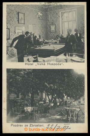 200011 - 1907 ZBRASLAV - hotel Velká hospoda, 2-okénková, čb, interie