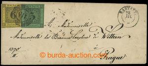 200050 - 1853 šlechtický dopis do Prahy vyfr. zn. Mi.6, 7, číslicové