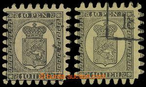 200067 - 1866 Mi.7CX, 7CZ, Znak 10Pen černá / žlutá, 2ks, pruhovaný a