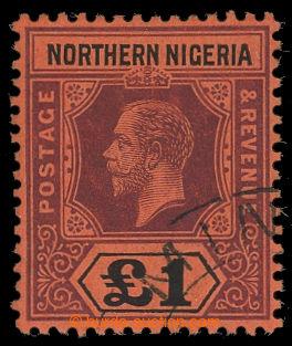 200142 - 1912 SG.52, Jiří V. £1 purpurová a černá / červená; bez