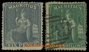 200157 - 1862 SG.54, 55, Britannia 6P břidlicová a 1Sh zelená, PROVIZ