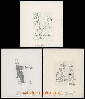 200194 - 1995 ZT  pro FDC Český kreslený humor, sestava 3ks otisků de