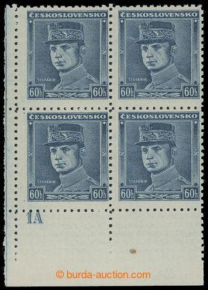 200565 - 1939 Sy.1, Modrý Štefánik 60h, levý dolní rohový 4-blok s DZ