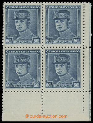 200567 - 1939 Sy.1, Modrý Štefánik 60h, pravý dolní rohový 4-blok; sv