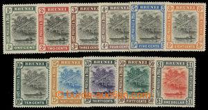 200582 - 1907-1910 SG.23-33, Brunei River 1C - $1; bezvadná série, ka