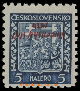 200606 - 1939 Sy.2PP, Coat of arms 5h with inverted opt; mint never h