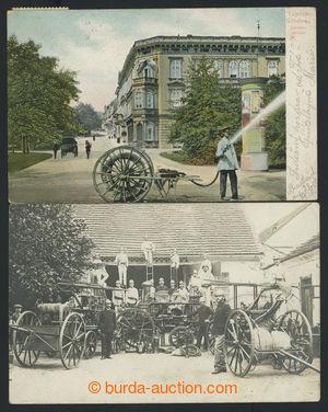 200698 - 1908-1914 HASIČI - 2 pohlednice, 1x dobová foto hasičského s
