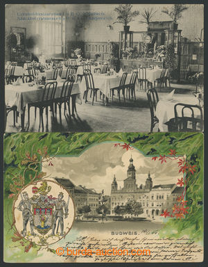 200699 - 1904-1908 ČESKÉ BUDĚJOVICE - 2 pohlednice, 1x tlačená k