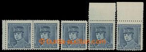 200707 - 1939 Sy.1, Modrý Štefáník 60h, sestava 5ks, 1x krajová 2-pás