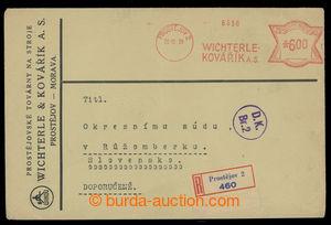 200722 - 1939 firemní R-dopis s čs. předběžným frankotypem, OVS Wicht