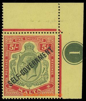 200733 - 1922 SG.113a, Jiří V. 5Sh s přetiskem SELF-GOVERNMENT, rohov