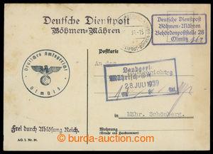 200738 - 1939 služební lístek s raz. poštovny BEHÖRDENPOSTSTELLE 28/