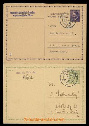 200751 - 1940-1945 CDV66  dvojitá dopisnice Znak 50h s podacím DR KYŠ