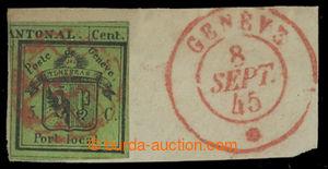 200783 - 1845 GENF  Mi.1HR, Znak 5C zelená, pravá polovina Doppelgenf