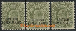 200786 - 1903 SG.29a, 29b, 29c, Edvard VII. 4A olivová, přetisk BRITI