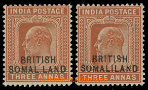200787 - 1903 SG.28b, 28c, Edvard VII. 3A oranžově hnědá, přetisk BRI