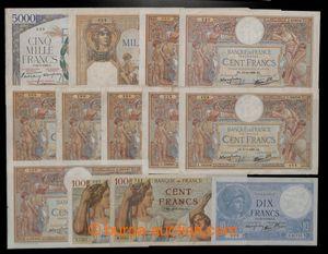 200801 - 1930-1950 FRANCIE  sestava 15ks bankovek, obsahuje mj. 5000F