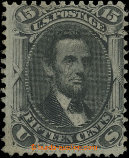 200802 - 1861-1866 Sc.98, Lincoln 15C černá, GRILL F 9/13mm; nový lep