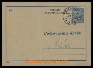200889 - 1939 čs. předběžná celina Adresní záznamní lístek (!) CAZ1A,