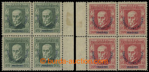 1925 Pof 180, 181, Congress 50h green and 100h red, marginal block-of-4,  value 50h