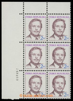 201341 - 1993 Pof.3, Havel 2Kč, levý horní rohový 6-blok s datem tisk