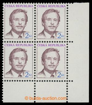 201342 - 1993 Pof.3, Havel 2Kč, pravý dolní rohový 4-blok s VPO - vel
