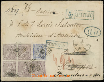 201501 - 1873 heavy Reg letter from Malorka (!) to Prague, redirected