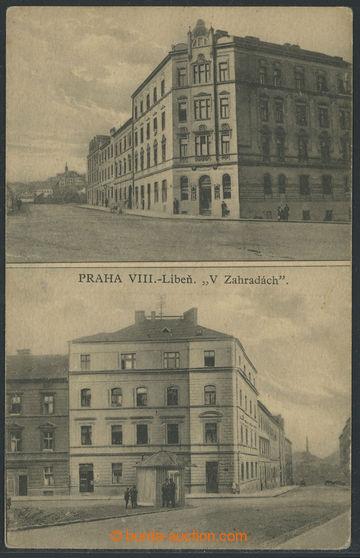 201595 - 1920 LIBEŇ - V zahradách, 2-okénková čb pohlednice, na výšku