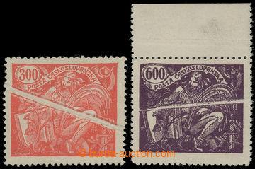 202010 -  Pof.166B, 169A VV, 300h červená a 600h fialová s horním okr