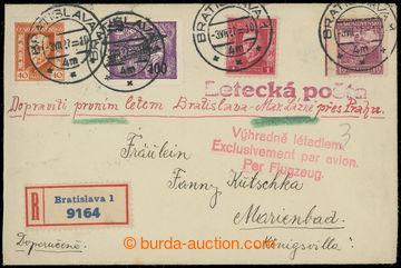 202184 - 1927 1. let BRATISLAVA - PRAHA - MARIÁNSKÉ LÁZNĚ  R+Let-dopi