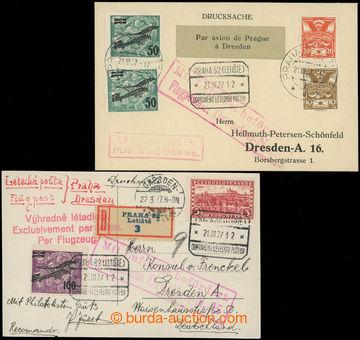 202200 - 1927 1. let PRAHA - DRAŽĎANY, sestava 2ks celistvostí zaslan
