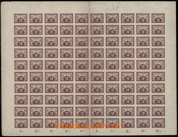 202260 - 1919 COUNTER SHEET / Pof.S3, 10h brown, whole 100 pcs of cou