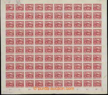 202362 -  COUNTER SHEET / Pof.5, 10h red, complete 100 stamps sheet,