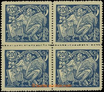 202861 -  Pof.174A, 200h modrá, II. typ, 4-blok s ŘZ 13¾; po nál