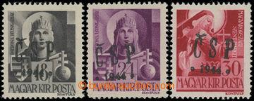 203442 - 1944 Pof.RV183, 185 a 190, Chustský přetisk 18f a 24f Hungar