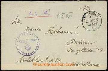 203503 - 1942 O.T. Mann, dopis zaslaný přes německou PP do ČaM, DR FE