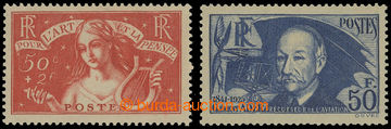 204341 - 1935-1938 Mi.304, 425a, Surtax Allegory 50C + 2Fr and Ader 5