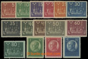 204354 - 1924 Mi.144-158, Kongres UPU 5Ore - 5Kr; kompletní série v m