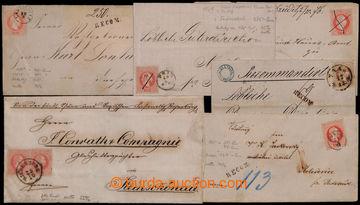 204427 - 1868-1869 SESTAVA/ 6 dopisů, 5x frankatura FJ I. 5Kr, 3x náp