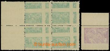 204487 -  Pof.164A, 165VV, 100h zelená - krajový 4-blok a 200h fialov