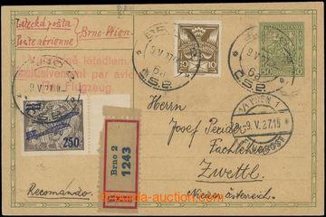 204547 - 1927 1. let BRNO - VÍDEŇ, R+Let-dopisnice Znak 50h přepraven