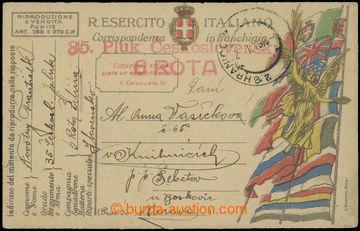 204802 - 1919 35. PLUK ČS./ 6. ROTA  červené útvarové raz. na italské