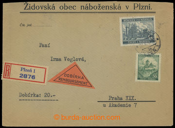 204929 - 1940 envelope Jewish Community religious in Plzen, sent as R