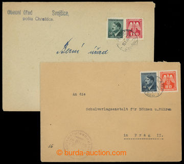 204933 - 1943 comp. of 2 letters with mixed franking of stmp Official